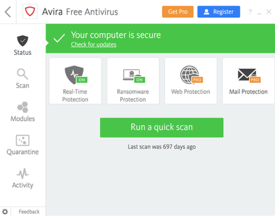 Avira Free Antivirus for Windows Screenshot
